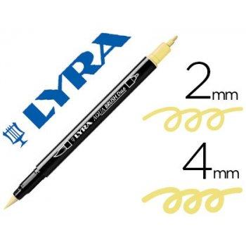 Rotulador lyra aqua brush acuarelable doble punta fina y pincel amarillo crema