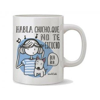 Taza ceramica love&child habla chucho que no te escucho capacidad 300 cl apta microondas y lavavajillas