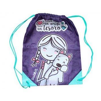 Cartera escolar love&child mochila saco poliester con cuerdas y cantoneras quien tiene un amigo tiene un