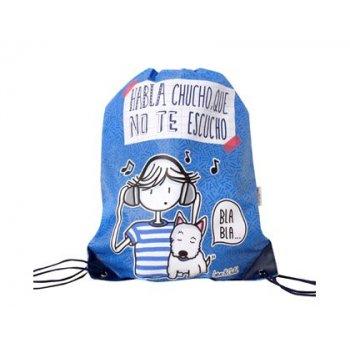 Cartera escolar love&child mochila saco poliester con cuerdas y cantoneras habla que no te escucho color azul