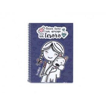 Cuaderno espiral love&child din a5 tapa dura 90 hojas 70 gr cuadricula 4 mm quien tiene un amigo tiene un