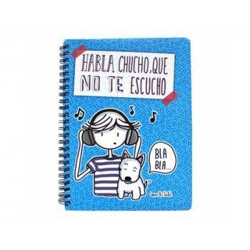 Cuaderno espiral love&child din a5 tapa dura 90 hojas 70 gr cuadricula 4 mm habla chucho que no te escucho