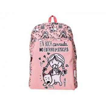 Cartera escolar love&child mochila adaptable a carro poliester en boca cerrada no entran moscas color rosa