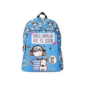 Cartera escolar love&child mochila adaptable a carro poliester habla chucho que no te escucho azul 420x330x140