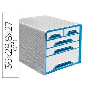 Fichero cajones de sobremesa cep 5 cajones mixtos blanco azul 360x288x270 mm
