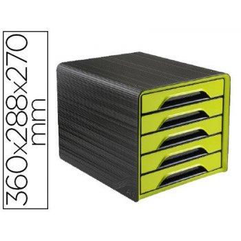 Fichero cajones de sobremesa cep 5 cajones verde negro 360x288x270 mm