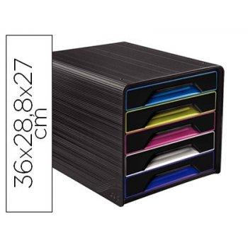 Fichero cajones de sobremesa cep 5 cajones negro multicolor 360x288x270 mm