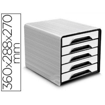 Fichero cajones de sobremesa cep 5 cajones blanco negro 360x288x270 mm