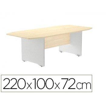 Mesa de reunion rocada meeting 3003ab01 estructura madera gris aluminio tablero madera haya 220x100x72 cm