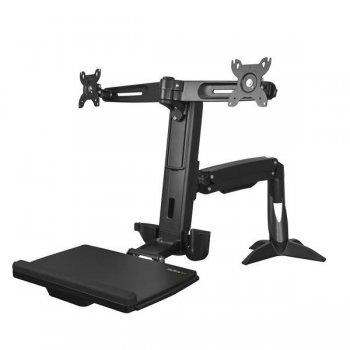 StarTech.com Brazo para 2 Monitores de hasta 24 Pulgadas - Brazo de Soporte VESA para dos Pantallas de Pie y Sentado de Altura