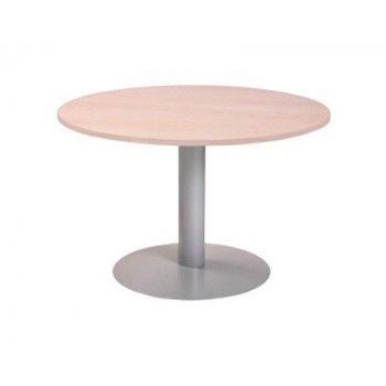 Mesa de reunion rocada meeting 3006at04 estructura columna acero gris tablero madera blanco 120 cm diametro
