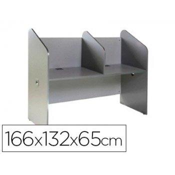 Mesa centro de llamadas rocada doble serie welcome 166x132x65 cm acabado ab02 aluminio gris