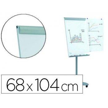 Pizarra blanca rocada para conferencias metalica magnetica con ruedas 68x104 cm incluye 2 brazos laterales