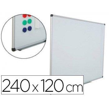 Pizarra blanca rocada acero vitrificado magnetico marco aluminio y cantoneras pvc 240 x 120 cm incluye bandeja