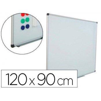 Pizarra blanca rocada acero vitrificado magnetico marco aluminio y cantoneras pvc 120x90 cm incluye bandeja