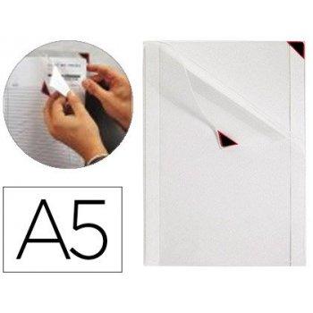 Funda de presentacion tarifold kang easy clic adhesiva removible din a5 esquina magnetica capacidad