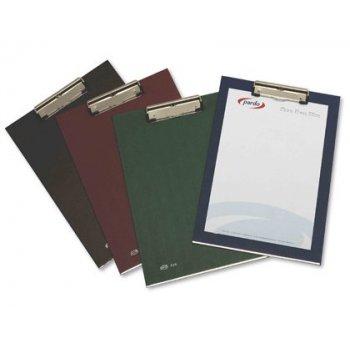 Portanotas pardo carton forrado pvc folio con pinza metalica azul