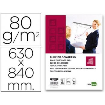 Bloc congreso liderpapel liso 63x84cm 50 hojas 80g m2