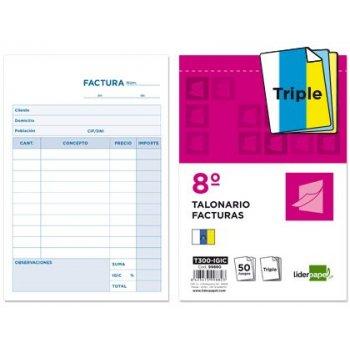 Talonario liderpapel facturas 8º original y 2 copias t300 con i.g.i.c.
