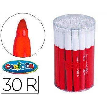 Rotulador carioca jumbo rojo punta gruesa -bote de 30 unidades