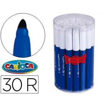 Rotulador carioca jumbo azul punta gruesa -bote de 30 unidades