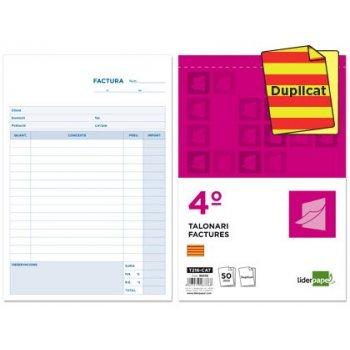 Talonario liderpapel facturas cuarto original y copia t216 con i.v.a. texto en catalan