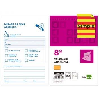 Talonario liderpapel ausentes 8º original t103 texto en catalan