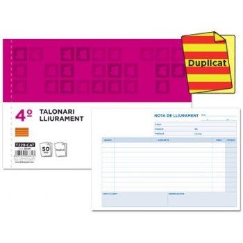 Talonario liderpapel entregas cuarto original y copia t229 apaisado texto en catalan