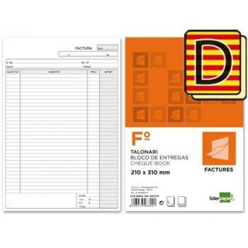 Talonario liderpapel facturas folio original y copia t223 con i.v.a. texto en catalan