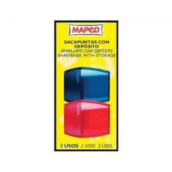 Sacapuntas plastico 534755 2 uso con deposito blister de 2 unidades