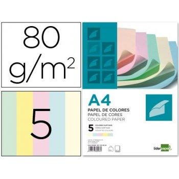 Papel color liderpapel a4 80g m2 5 colores surtidos paquete de 500