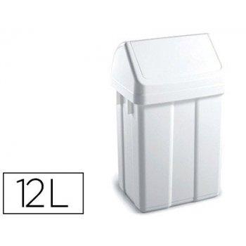 Papelera contenedor tts plastico con tapadera max 12 litros blanca 400x230x200 mm