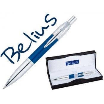Boligrafo belius perpignan lacado azul con adornos cromados en estuche