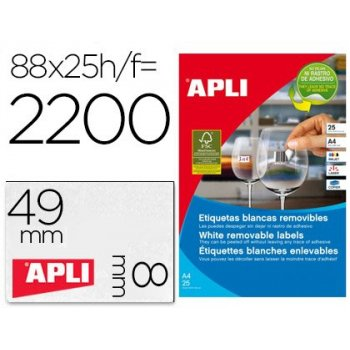 Etiqueta adhesiva apli removible 10314 especial joyeria 45x8 mm fotocopiadora laser ink-jet caja con 25