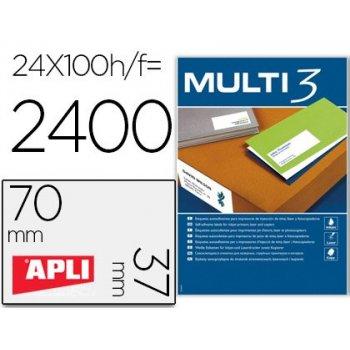 Etiqueta adhesiva multi 3 apli 70x37 mm fotocopiadora laser ink-jet caja con 100 hojas din a4