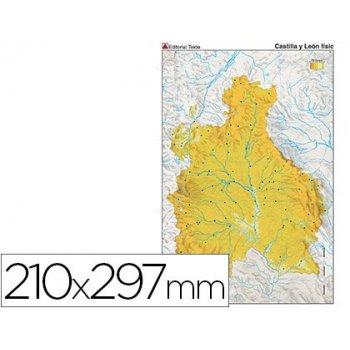 Mapa mudo color din a4 castilla-leon fisico