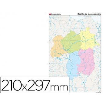 Mapa mudo color din a4 castilla-la mancha politico