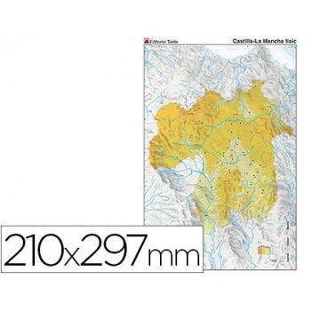 Mapa mudo color din a4 castilla-la mancha fisico