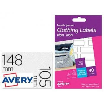 Etiqueta adhesiva avery para tejido sin plancha varios tamaños pack de 30 unidades