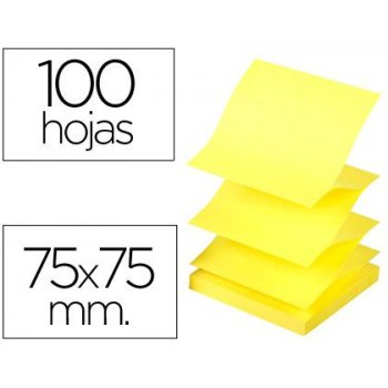 Bloc de notas adhesivas quita y pon q-connect 75x75 mm amarillo neon zig-zag