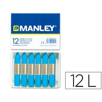 Lapices cera manley unicolor azul cobalto nº 20 caja de 12