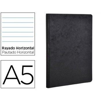 Libreta age-bag tapa cartulina lomo cosido rayado horizontal 96 hojas color negro 148x210 mm