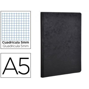 Libreta age-bag tapa cartulina lomo cosido cuadro 5 mm 96 hojas color negro 148x210 mm
