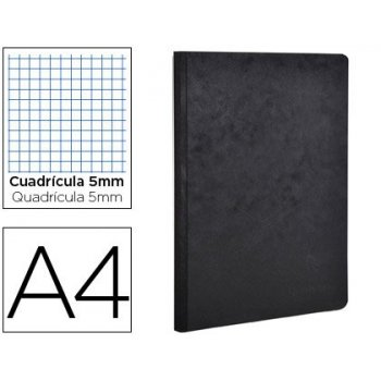 Libreta age-bag tapa cartulina lomo cosido cuadro 5 mm 96 hojas color negro 210x297 mm