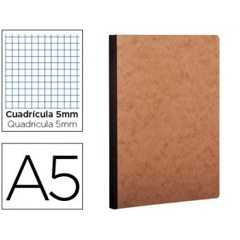 Libreta age-bag tapa cartulina lomo cosido cuadro 5 mm 96 hojas color havana 148x210 mm