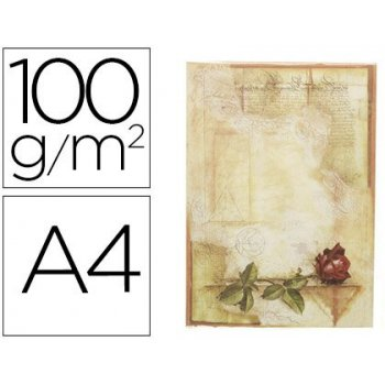 Papel pergamino liderpapel din a4 certificado con rosa 100 g m2 paquete de 12 hojas