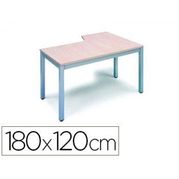 Mesa rocada serie executive 180x120 cm izquierda acabado ad02 aluminio gris