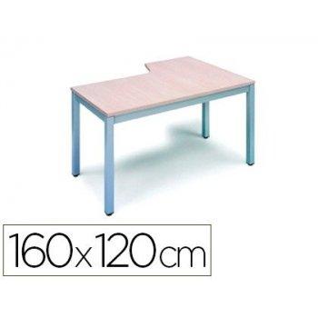 Mesa rocada serie executive 160x120 cm izquierda acabado ad01 aluminio haya