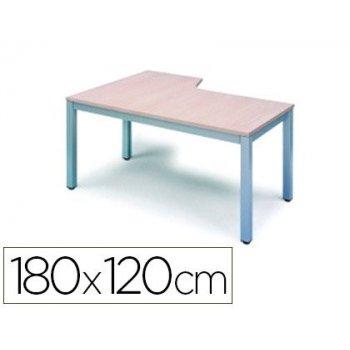 Mesa rocada serie executive 180x120 cm derecha acabado ad04 aluminio blanco