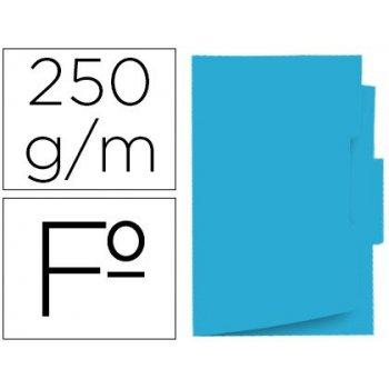 Subcarpeta cartulina gio folio pestaña central 250 g m2 azul